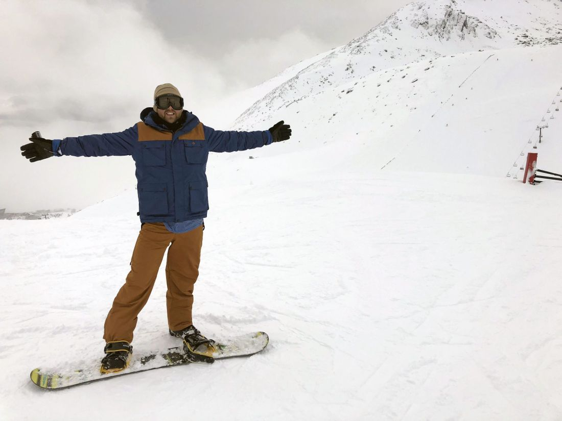 Dan snowboarding at Remarkables Ski Field