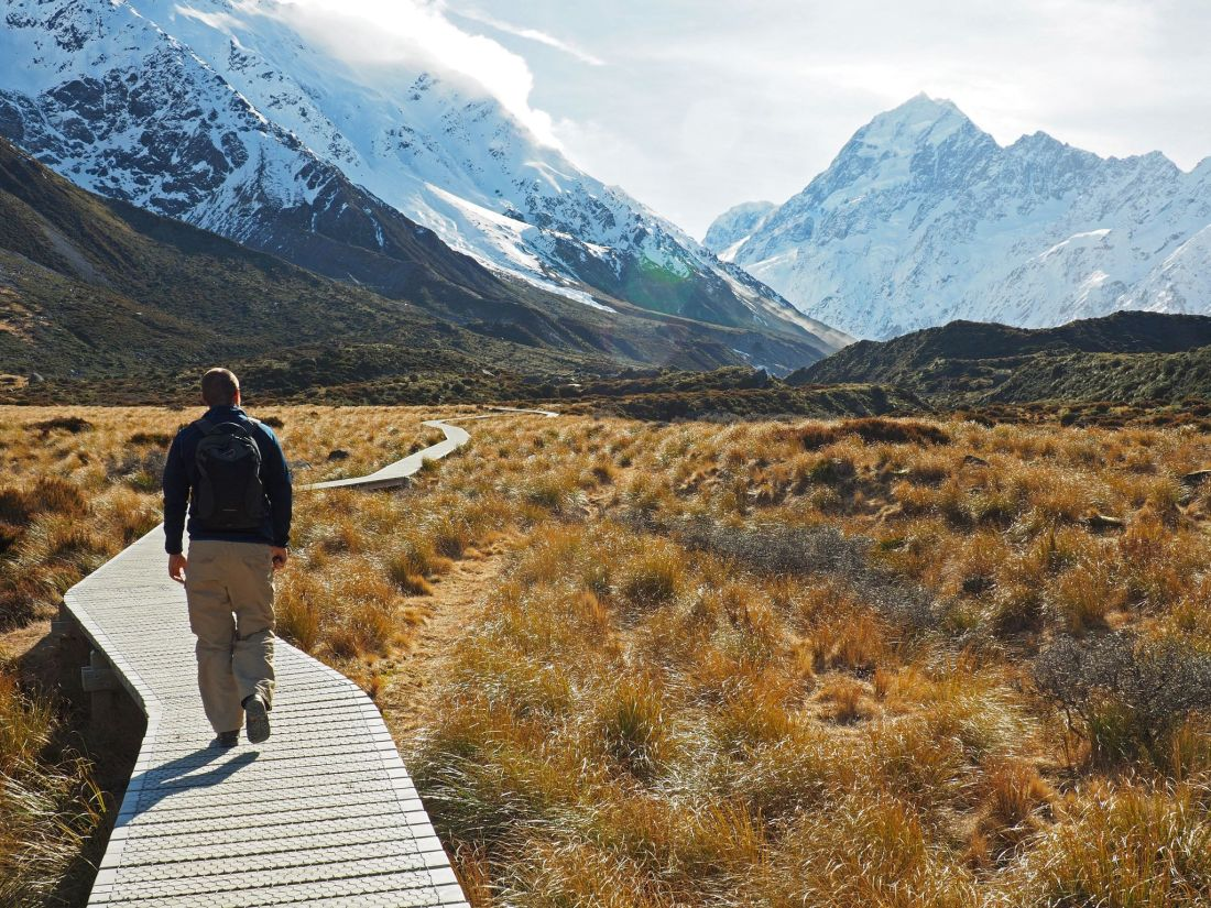 Dan walking along Hooker Valley