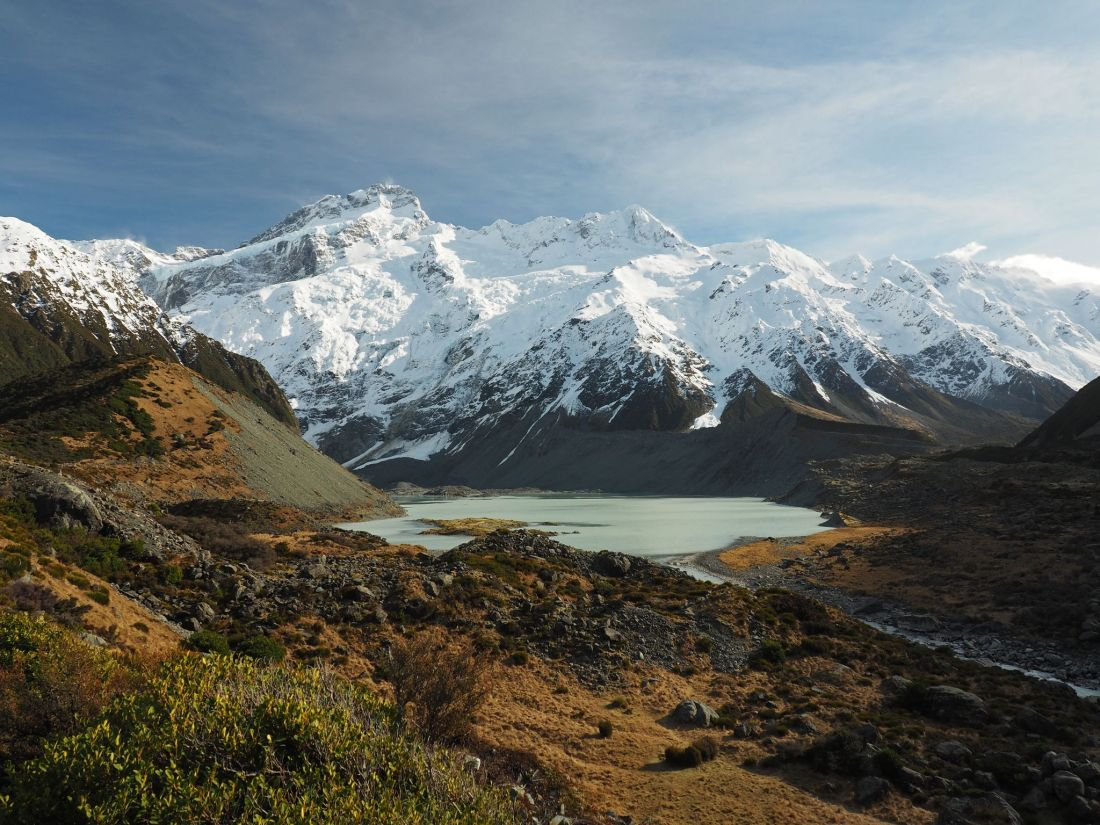 Hooker Valley Mountains and lake