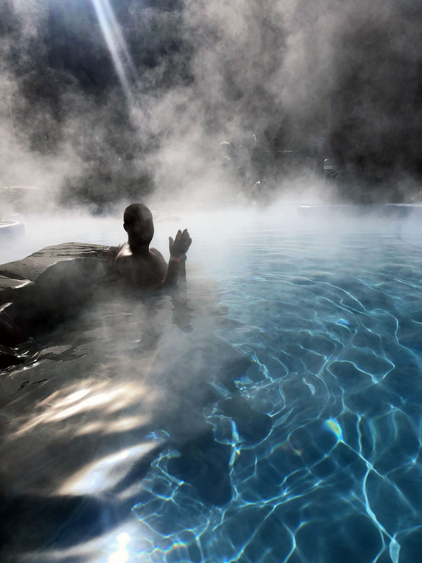Steamy pools at Tekapo Hot Springs