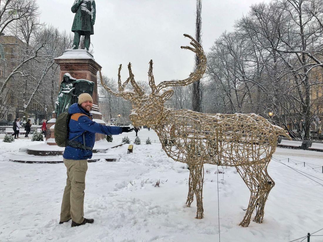 Dan with festive reindeer Helsinki