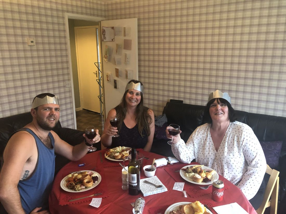 Family at Christmas lunch