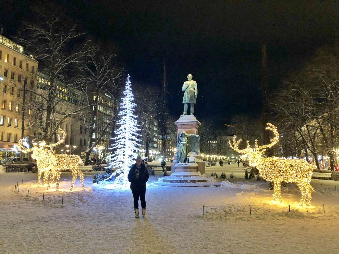 Simone with Christmas Lights Helsinki