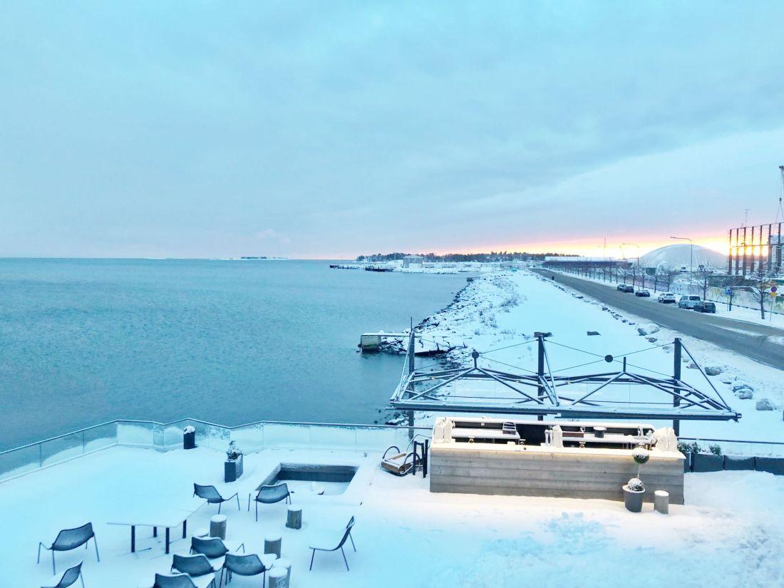 Snowy view from Loyly Helsinki