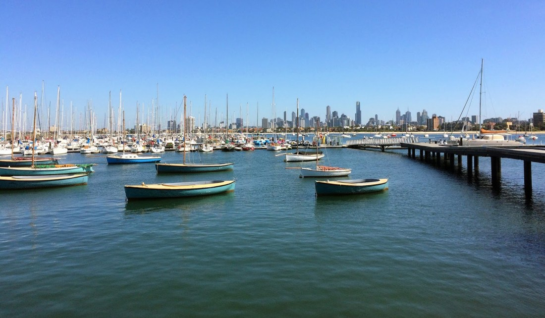 St Kilda Boats and View of City from Pier