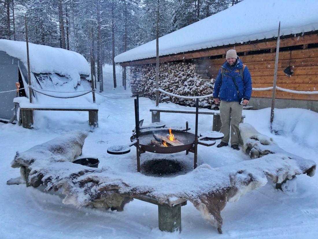 Dan with fire at Santa Claus Village Rovaniemi