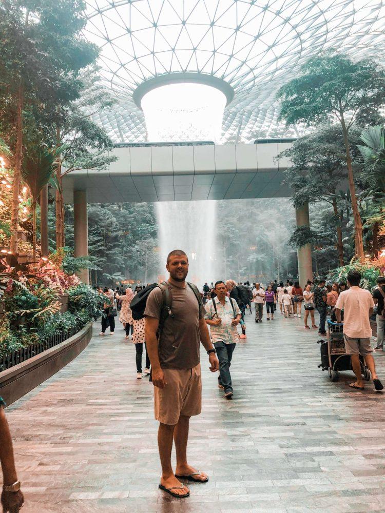 Dan at Changi Airport Waterfall