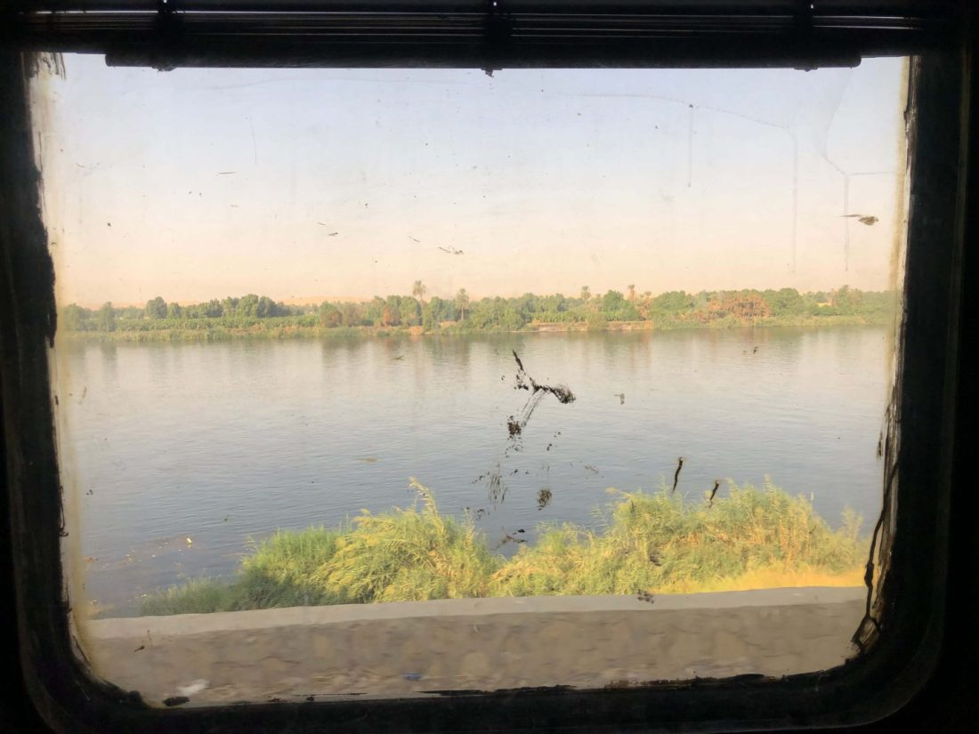 Nile views from sleeper train Egypt
