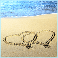 The Austin Alchemist Media Company offers body mind spirit news resources and events - love and hearts in the sand