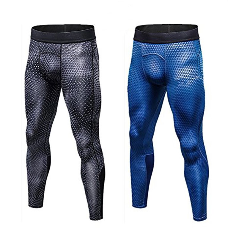 Muscle Killer Men's 2 Pack Compression Pants Cool Dry Sports Tight Leggings