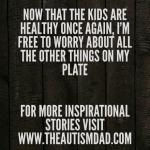 Now that the kids are healthy once again, I'm free to worry about all the other things on my plate