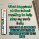 What happened at the school meeting to help stop my son's bully
