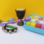 Music and autism, toy piano, bells, recorder, drum, shaker