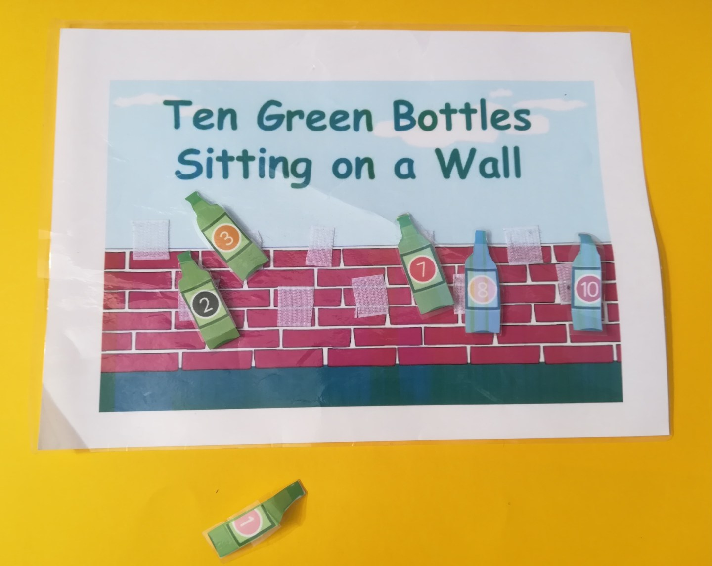Music and autism, Ten Green Bottles Visual aid, nursery rhyme