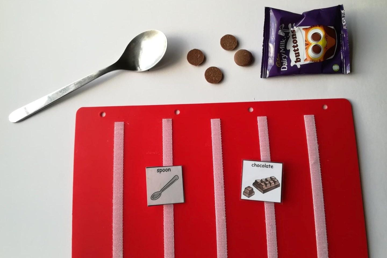 PECS phase 3 chocolate v spoon