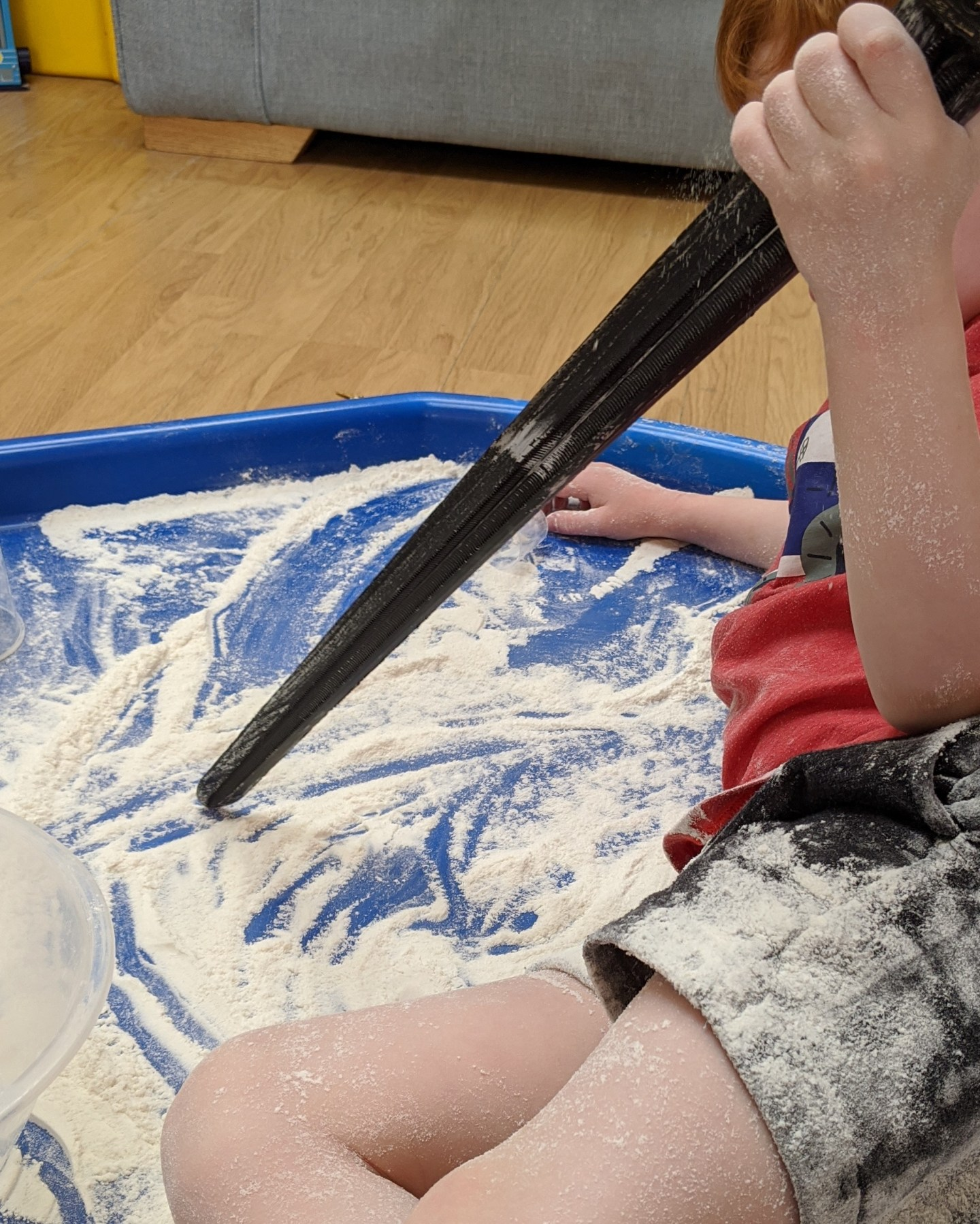 mark making with flour