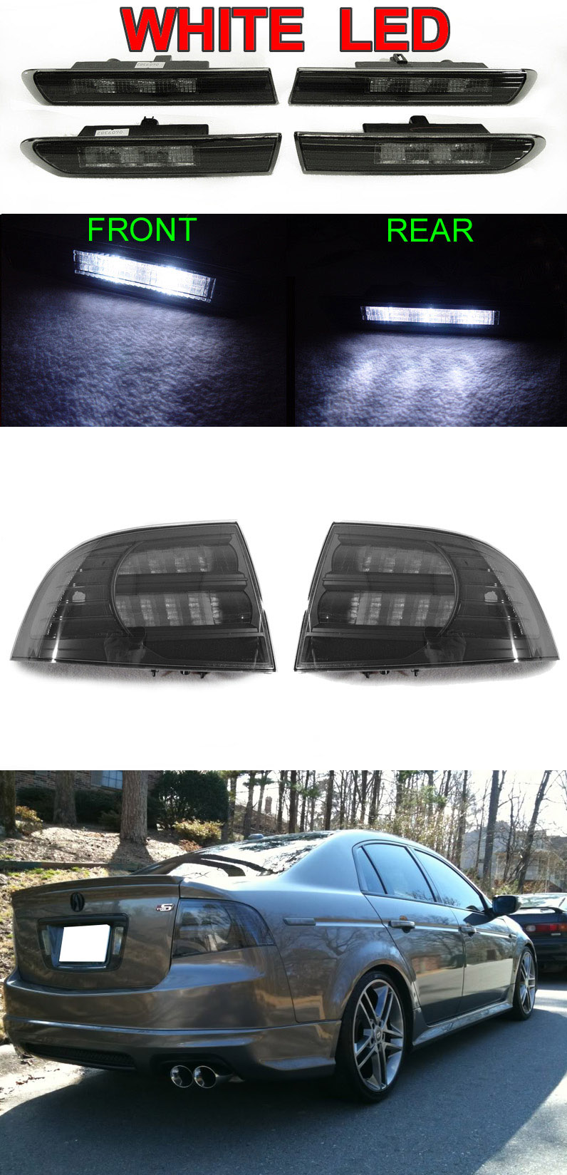 hight resolution of details about 6pcs combo black smoke tail light white led side marker for 2004 2008 acura tl
