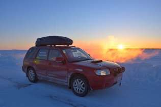 The winning Subaru Forester on the ice highway just outside of Yellowknife at 3 p.m.