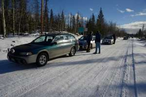 "Cars line up to start a ""regularity run"" on the Thunderbird Rally in 2012."
