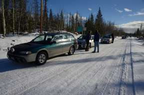 """Cars line up to start a """"regularity run"""" on the Thunderbird Rally in 2012."""