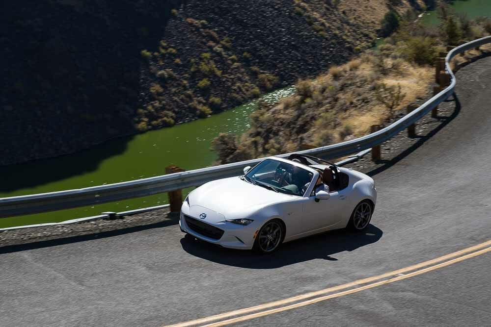 2019 Mazda MX=5 Miata on curvy roads during Run to the Sun.
