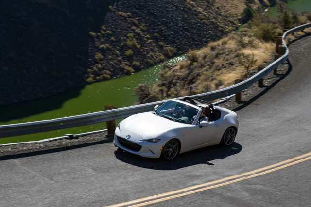2019 Mazda MX=5 Miata on curvy roads during Run to the Sun.
