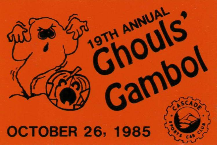 Ghoul's Gambol car dash plaque, 1985. Rally. The Auto Reporter.