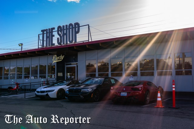 BMW i8, BMW M5, and Ferrari outside Beauty & Key's launch at The Shop - The Auto Reporter