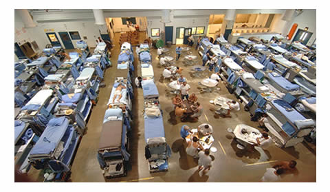 Triple bunks in a California prison.