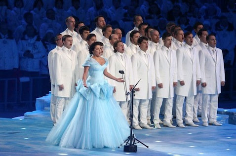 Anna Netrebko performing the Olympic anthem during the opening ceremony of the Sochi 2014 Olympic Games at the Fisht Olympic Stadium. (Photo ITAR-TASS/ Stanislav Krasilnikov)