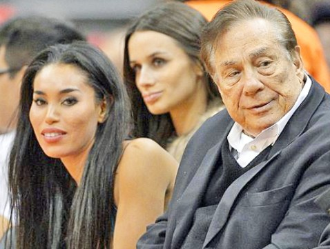V. Stiviano and Donald Sterling at a Clippers game