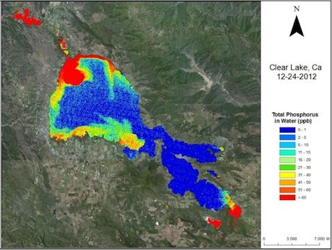 Total Phosphorus in Water. Overlay on natural color image of surrounding landscape. Clear Lake, CA, Dec 24, 2012.