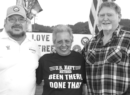 Veterans Jerry Kuny, Darlene Cordiero (Comptche) and Ken Hurst were honored at the Apple Bowl at the Fair a week ago Friday.