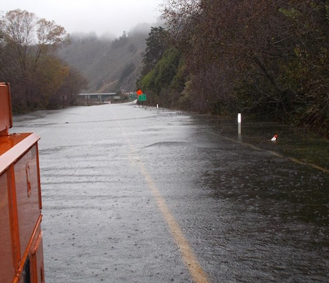 Flooding on Highway 128 near the Navarro River Bridge, December 11, 2015.
