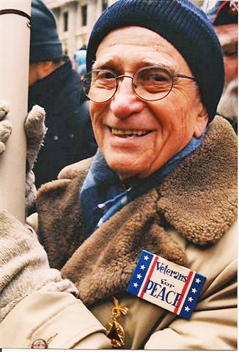 Fisher at an anti-war protest in 2001