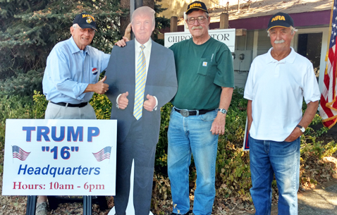 "Left to right: Wayne McBride of Ukiah, ""The Donald"", Mike Carter of Laytonville, and Greg Colby of Ukiah."
