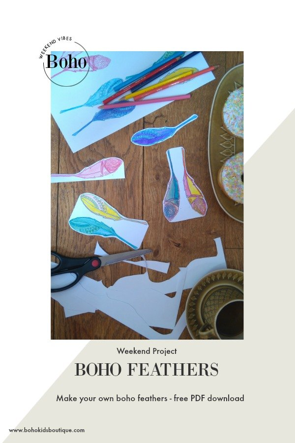 boho feathers free PDF printable party diy craft idea