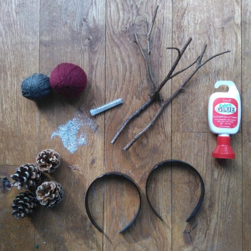 materials for woodland animal headbands diy tutorial made with twigs and cones from the awesome childhood project blog