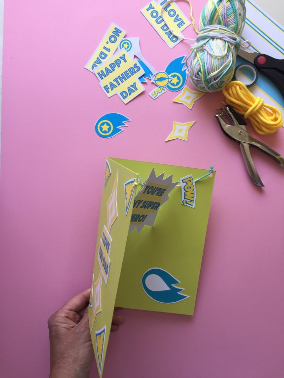 our finished superhero fathers day card with a special pop up surprise