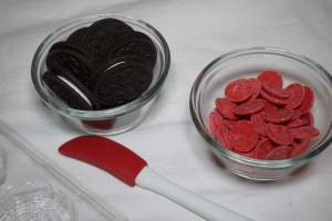 Chocolate Covered Oreo Roses Recipe Ingredients with rose candy mold and spatula