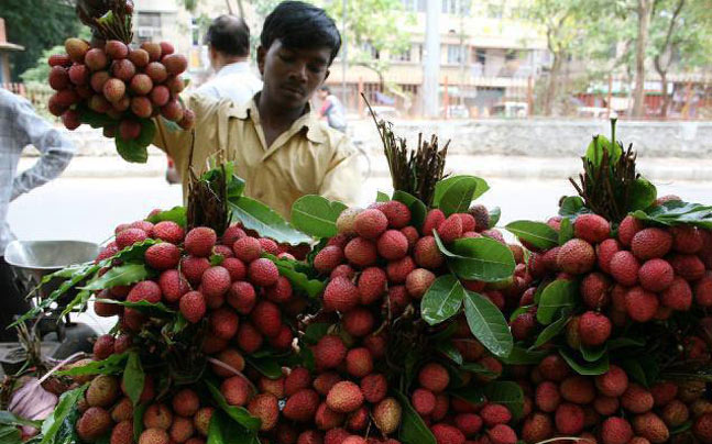 litchi being sold in market