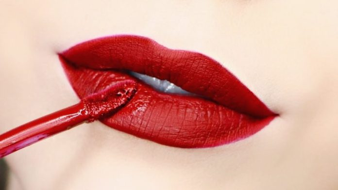 red liquid lipstick