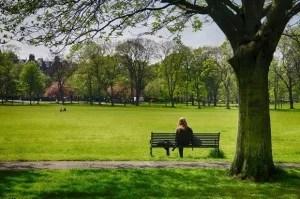 girl bench grass trees