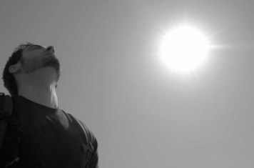 man sun breathing