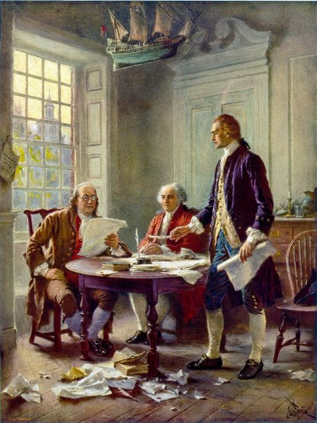 Thomas Jefferson (right), Benjamin Franklin (left), and John Adams (center) meet at Jefferson's lodgings, on the corner of Seventh and High (Market) streets in Philadelphia, to review a draft of the Declaration of Independence. 1 photomechanical print : halftone, color (postcard made from painting). Postcard published by The Foundation Press, Inc., 1932. Reproduction of oil painting from series: The Pageant of a Nation.