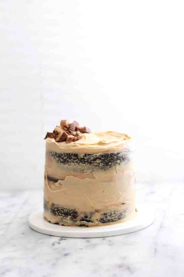 Naked Chocolate Peanut Butter Layer Cake
