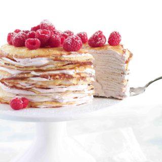 Raspberry & Cream Crepe Cake