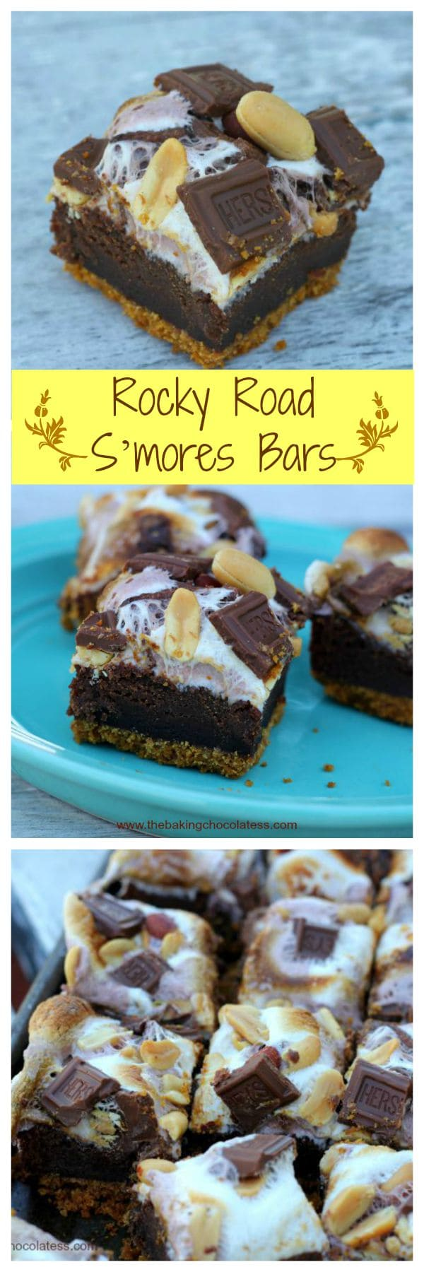 Rocky Road S'mores Bars - Toasted mini marshmallows, milk chocolate, roasted salted peanuts on top of a rich brownie layer on top of a graham cracker crust.