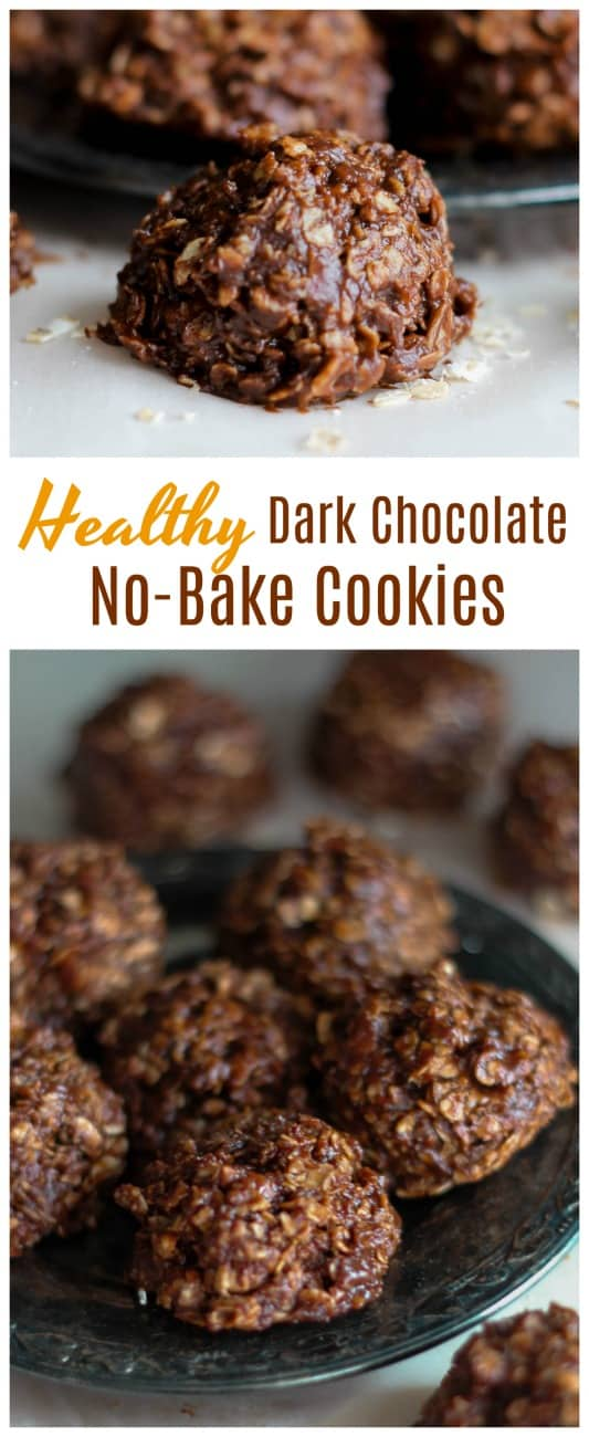 Healthy Dark Chocolate No-Bake Cookies {Optional Gluten-Free, Vegan & Non-Dairy too!} - A decadent, truly satisfying dark chocolate no-bake cookie chocked full of old-fashioned rolled oats, dark chocolate, vanilla almond milk, vanilla and almond butter. {Gluten-Free, Vegan & Non-Dairy too!} #vegan #glutenfree #oats #no bake #cookies #almondbutter #peanutbutter #dark chocolate #flahavans