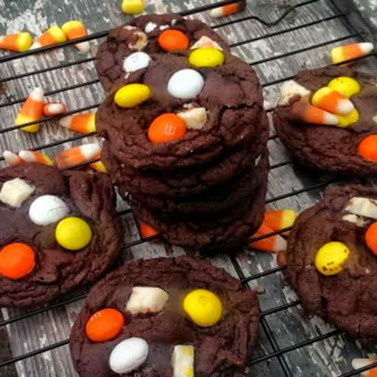 Candy Corn Double Chocolate Cookies {Soft-Batch}